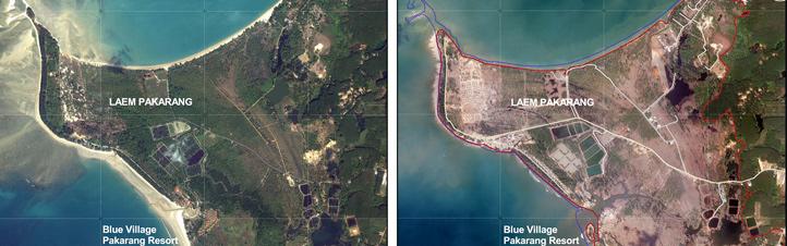 Diese beiden Bilder zeigen die Region Khao Lak in Thailand vor (links) und nach (rechts) dem Tsunami vom 26. Dezember 2004. Am Tag nach der Katastrophe gab es hier an der Küste und im Hinterland statt grüner Felder und Wälder nur noch nackte Erde und Schlamm. Auch von vielen anderen zerstörten Küstengebieten hat das DLR damals schnell Satellitenbilder angefertigt und den Einsatzkräften zur Verfügung gestellt. Bilder: DLR