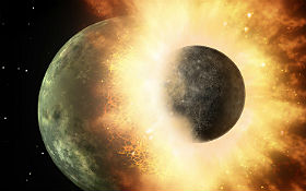Wie in dieser künstlerischen Darstellung der NASA kann man sich den Einschlag eines anderen Himmelskörper auf der jungen Erde vorstellen. Aus den Trümmern entstand nach heutiger Theorie der Mond. Bild: NASA/JPL-Caltech