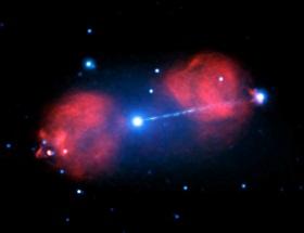 Diese Aufnahme wurde mithilfe des Röntgenteleskops Chandra angefertigt und im Februar 2016 veröffentlicht. Sie zeigt die Strahlung, die sich um ein Schwarzes Loch herum bildet. Bild: X-ray: NASA/CXC/Univ of Hertfordshire/M.Hardcastle et al., Radio: CSIRO/ATNF/ATCA
