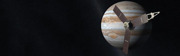 Künstlerische Darstellung der Sonde Juno bei Ankunft am Planeten Jupiter. Bild: NASA/JPL