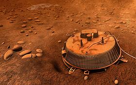 So ungefähr muss es ausgesehen haben, als Huygens auf dem Saturn-Mond Titan gelandet ist. Bild: ESA