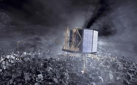 Diese künstlerische Darstellung zeigt den Rosetta-Lander namens Philae auf der Oberfläche des Kometen. Bild: ESA
