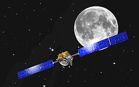 Die Sonde SMART-1 – hier in einer künstlerischen Darstellung – auf dem Weg zum Mond. Bild: ESA (J. Huart)