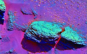 """Auf dieser Aufnahme wegen der speziellen Einfärbung besonders gut sichtbar: An einigen Stellen ist das Gestein auf dem Mars von """"Kügelchen"""" bedeckt. Sie entstehen eigentlich nur, wenn Wasser im Spiel ist. Bild: NASA"""