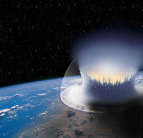 So könnte es aussehen, wenn ein großer Meteorit die Erde trifft. Bild: DLR