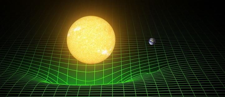 Massereiche Objekte (hier künstlerische Darstellung) krümmen den Raum um sie herum – wie eine Kugel eine Matratze eindellt. Bild: LIGO (Laser Interferometer Gravitational-Wave Observatory)