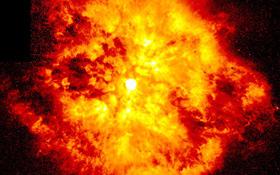 """Hier explodiert zwar """"nur"""" ein Stern. Aber so ähnlich kann man sich auch den Urknall vorstellen. Aus dem Nichts heraus soll dabei das Universum entstanden sein. Bild: NASA, ESA, STScI"""