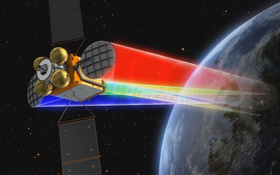 Diese Darstellung zeigt, wie ein Satellit die digitalen Daten zur Erde schickt. Bild: OHB-System AG