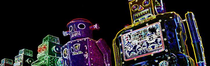 """In der Raumfahrt werden besonders """"schlaue"""" Roboter benötigt. Auch auf der Erde findet die Robotik vielfältige Anwendungen, und zwar nicht nur – wie hier leicht verfremdet gezeigt – in Form von Spielzeug-Robotern. Bild: K.-A."""