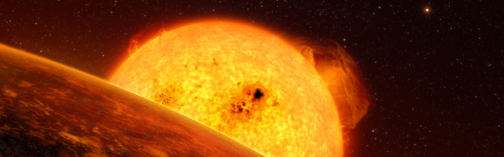 Künstlerische Darstellung des Planeten CoRoT-7b und seiner Sonne. Bild: ESO (L. Calcada)