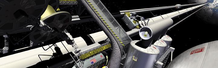 Szenario eines Weltraum-Fahrstuhls. Dies ist natürlich kein Foto, sondern die künstlerische Darstellung dieses utopischen Vorhabens. Bild: NASA