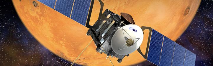 """Mars Express umrundet seit vielen Jahren den """"Roten Planeten"""". Bild: ESA (D. Ducros)"""