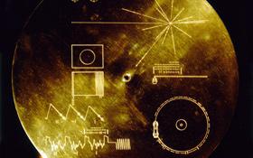 Diese CD mit Botschaften von der Erde befindet sich an Bord der Voyager-Sonden. Darauf sind Grußworte an Außerirdische und jede Menge Fotos der Erde enthalten. Bild: NASA