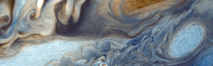 Diese Nahaufnahme der Wolken auf dem Gas-Riesen Jupiter machte die Sonde Voyager 1 bei ihrem Flug in die Unendlichkeit. Bild: NASA, JPL