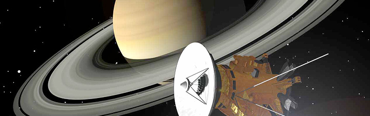 Die Cassini-Sonde umkreist den Saturn. Künstlerische Darstellung: NASA