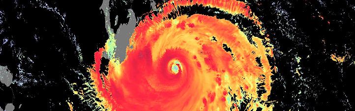 Falschfarbenbild eines Hurrikans. Bild: ESA