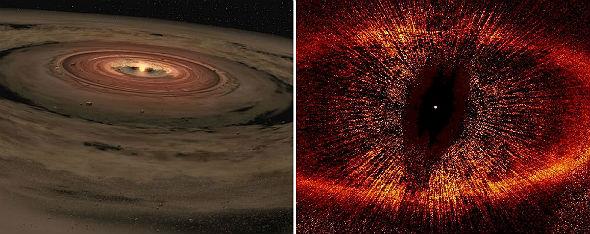 """Links: Diese künstlerische Darstellung zeigt, wie man sich die Entstehung des Sonnensystems vorstellen kann: Eine Wolke aus Gas- und Staubteilchen verdichtet sich, die Teilchen """"klumpen"""" zusammen und bilden die einzelnen Himmelskörper. Bild: NASA/JPL-Caltech. Rechts: Diese Aufnahme des Weltraum-Teleskops Hubble zeigt einen Stern, umgeben von einer Wolke aus Gas- und Staubteilchen. Bild: NASA, ESA, Hubble"""