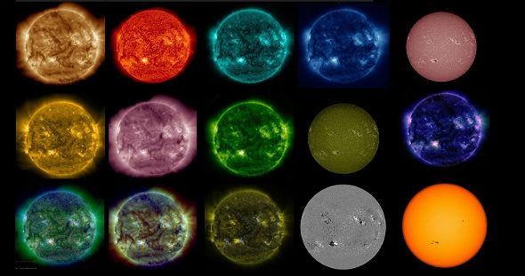 Die Sonne – gesehen vom Satelliten SDO, jedes Bild in anderer Wellenlänge. Bilder: NASA, SDO