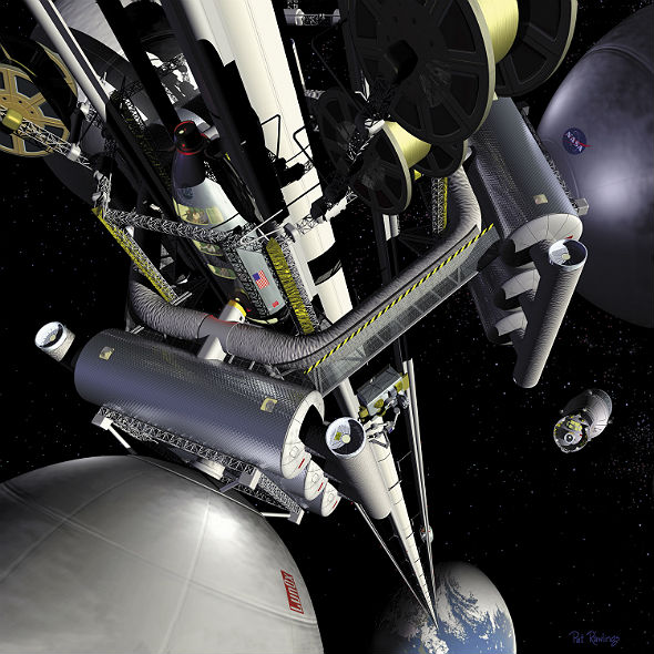 Künstlerische Darstellung eines Weltraum-Aufzuges. Bild: NASA
