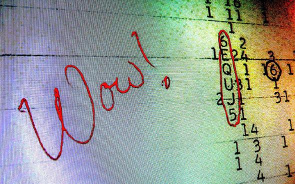 Das Wow!-Signal. Screenshot des Computer-Ausdrucks.