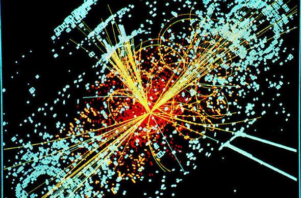 """Diese Grafik zeigt … nein: nicht den Urknall. Sie stellt vielmehr die Spuren kleinster Teilchen dar – und zwar beim Zusammenstoß in einem riesigen Teilchen-Beschleuniger. So heißen diese Forschungsanlagen, bei denen kleinste Teilchen in einer ringförmigen Röhre auf Crash-Kurs gebracht werden. Was die Forscher hier in der """"Mini-Welt"""" der kleinsten Teilchen untersuchen, könnte auch Hinweise darauf geben, was beim Urknall passiert ist. Die berühmteste Anlage dieser Art (von der auch dieses Bild stammt) findet sich beim CERN in der Schweiz. Bild: CERN"""