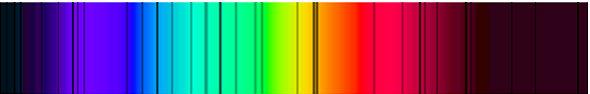 Sterne strahlen zwar hell und weiß leuchtend am Nachthimmel. Aber ihr Licht setzt sich – wie das weiße Licht der Sonne – eigentlich aus verschiedenfarbigen Wellenlängen zusammen. Wenn das Sternenlicht auf seinem Weg zu uns kosmische Gas- und Staubwolken durchquert und dabei auf bestimmte chemische Elemente trifft, entstehen dunkle Spektrallinien, wie man sie hier sieht. Bild: Wikipedia