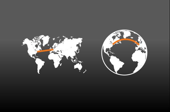 """Die Fluglinie von Frankfurt nach New York. Links die kürzeste Flugroute auf einer zweidimensionalen Erde, rechts auf einer dreidimensionalen Erdkugel. Die Frage lautet: Warum nehmen nahezu alle Piloten die rechts gezeigte """"krumme"""" Bahn, obwohl unsere Erde flach ist und die direkte Strecke (links) viel kürzer wäre?"""