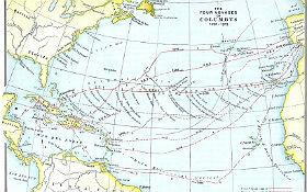 Die vier Reisen von Kolumbus nach Amerika. Die Karte beweist: Eigentlich hätte Kolumbus nicht lange suchen müssen, denn Amerika ist auf unserer flachen Erdscheibe von Europa aus gut zu sehen. Wahrscheinlich war er kurzsichtig. Bild: Wikipedia