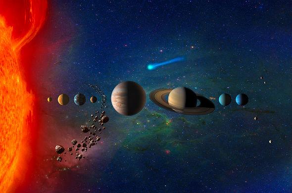 """Die Planeten unseres Sonnensystems – so wie Wissenschaftler es uns """"verkaufen"""" wollen. Bild: NASA"""