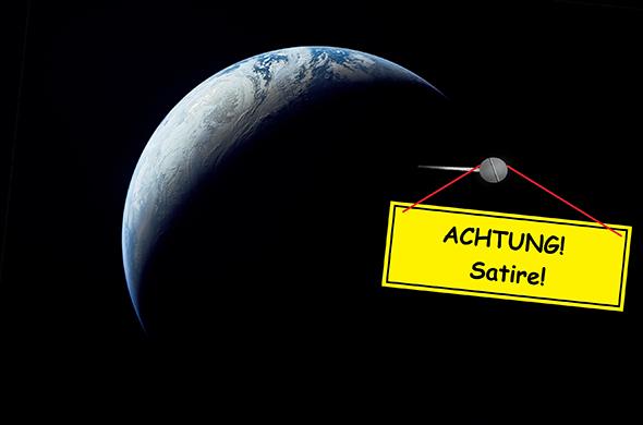 Das Bild zeigt ganz klar: Bei Tag ist es überall auf der Erde hell, nirgends ist es dunkel. Und damit niemand diesen Artikel falsch versteht, haben wir jetzt auch noch ein großes Hinweisschild in der Umlaufbahn um die Erdscheibe angebracht. Originalbild: NASA