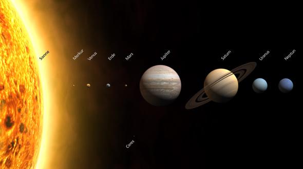 Aus neun wurden acht: Pluto gehört nicht mehr zu unserem Sonnensystem, deswegen ist er hier auch nicht mehr zu sehen. Bild: DLR
