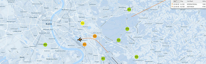 Die Karte mit den Lärmwerten. Bild: TraVis Flughafen Köln/Bonn