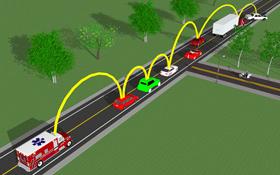 """In Zukunft werden die Fahrzeuge miteinander """"sprechen"""" und so die Fahrer unterstützen. Bild: DLR"""