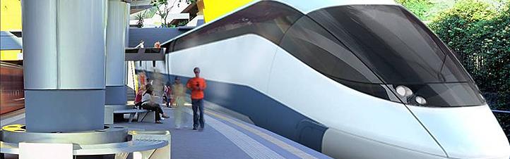 """So wie in dieser Fotomontage könnte der """"Next Generation Train"""" aussehen, wenn er in den Bahnhof einfährt. Bild: DLR"""