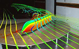 Bei den extrem schnellen Zügen der Zukunft spielt die Aerodynamik – ähnlich wie bei den Flugzeugen – eine ganz wichtige Rolle.<BR> Bild: DLR