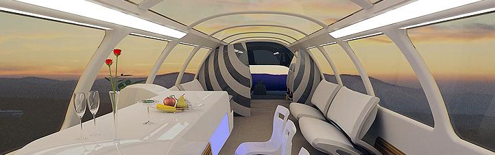 So wie in dieser Studie könnte der Innenraum eines Zuges der Zukunft aussehen. Bild: DLR
