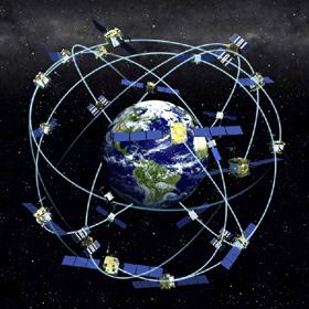 So kann man sich das GPS-System der US (und ähnlich auch das europäische Galileo-System) vorstellen: Für eine weltweite Navigation sind viele Satelliten nötig. Bild: NOAA