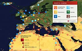 Strom aus der Wüste: das Desertec-Konzept. Bild: Desertec