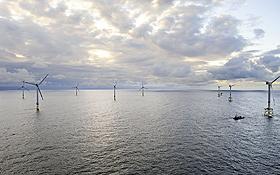 """Vor der deutschen Nordseeküste entsteht zurzeit eine riesige Anlage für Windkrafträder: Das Projekt hat den Namen """"alpha ventus"""". Bild: DOTI (M. Ibeler)"""