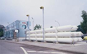 So wie hier in Hamburg könnten bald die Wasserstoff-Tankstellen aussehen.<BR>Bild: Hochbahn