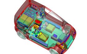 Eine Überlegung der Forscher: Die Batterien der Elektro-Autos – hier im Bild eine DLR-Studie – könnten als Speicher für den Solarstrom genutzt werden. Bild: BMU