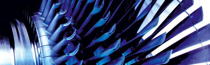 Die Turbinenschaufeln einer Gasturbine: Hier entstehen bei der Stromproduktion enorm hohe Geschwindigkeiten und Temperaturen. Bild: Alstom