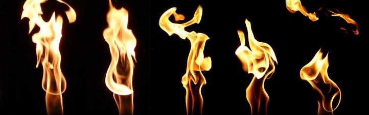 """Diese Flammen scheinen zu """"tanzen"""". Hier wurde ein und dieselbe Flamme mehrmals fotografiert, dann wurden die Einzelbilder nebeneinander angeordnet. Bild: K.-A."""