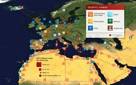 So sieht der Plan von Desertec aus: Sonnenkraftwerke in der Wüste, Windräder an der Küste und ein neues Netz für den Strom-Transport. Bild: Desertec