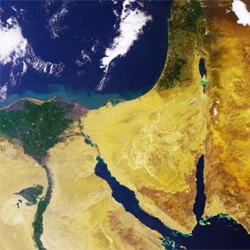 Ägypten mit dem Nil-Delta – gesehen vom europäischen Umweltsatelliten ENVISAT. Bild: ESA
