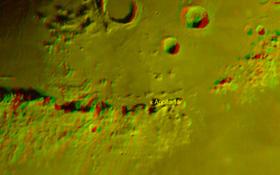 Das Mond-Apeninnengebirge in 3D. Das Kreuz zeigt die Landestelle von Apollo 15. Bild: Rolf Hempel (DLR)