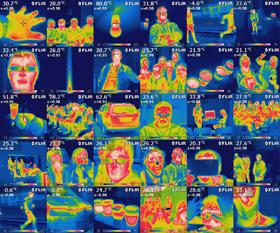 """Einige Infrarot-Bilder, die Schüler mit einer Wärmebild-Kamera aufgenommen haben, sind hier zu sehen. Per Klick kannst du dir diese Zusammenstellung seltsamer """"Klassenfotos"""" in Vergrößerung ansehen. Bild: DLR"""
