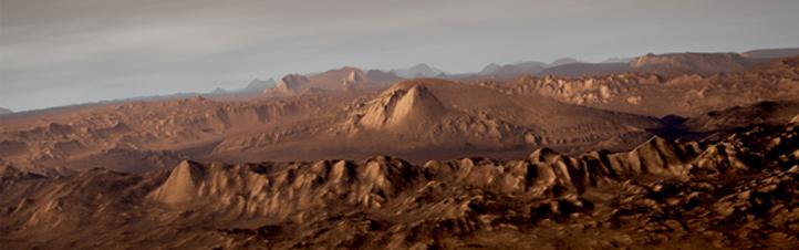 Die Landestelle von Curiosity: der Gale-Krater. Bild: ESA, DLR, FU Berlin (G. Neukum)
