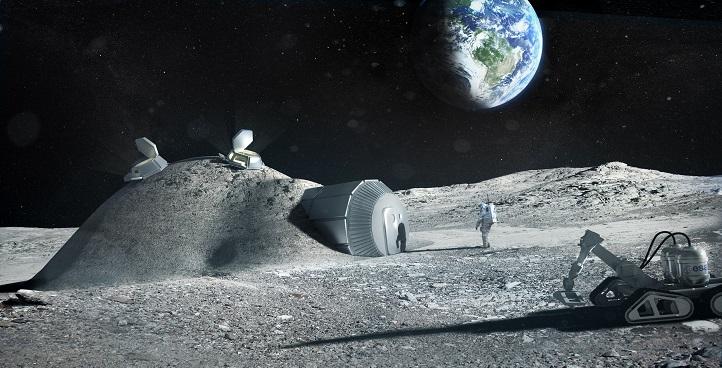 Wie in dieser künstlerischen ESA-Darstellung könnte die künftige Mondbasis aussehen. Bild: ESA
