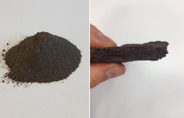 """In den Testläufen wird der Staub (linkes Bild) zu einer festen Schicht (rechts)  """"verdichtet"""". Bilder: DLR"""